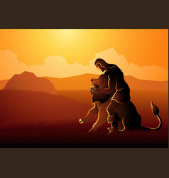 samson fighting the lion vector image