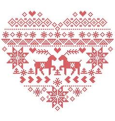 Scandinavian Nordic winter stitch knitting heart vector image