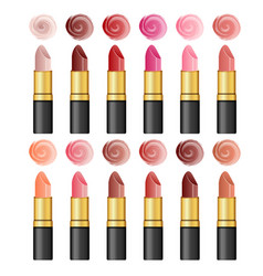 set color realistic lipsticks on white vector image