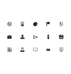 set of 15 editable office icons includes symbols vector image