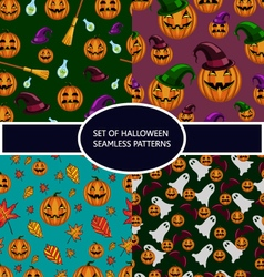 Set of seamless patterns with pumpkin halloween vector