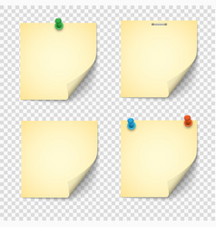 Set yellow paper notes with push pins vector