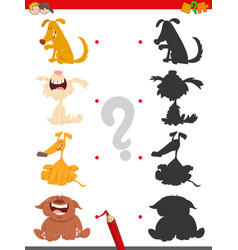 shadow game with cartoon dog characters vector image