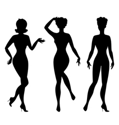 Silhouettes beautiful pin up girls 1950s style vector