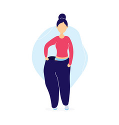 slim woman in oversized pants vector image