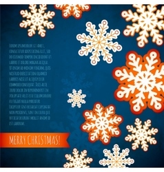 Snowflake winter blue background christmas paper vector image
