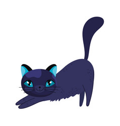 stretching black cat cartoon feline character pets vector image