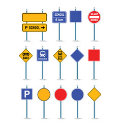 the road street traffic signs set crossroad vector image