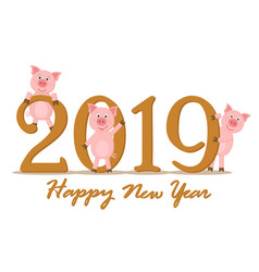 Three pigs waving and smiling near the 2019 for vector