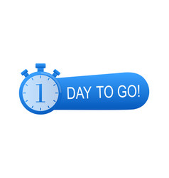 Timer with 1 days to go flat icon stock vector