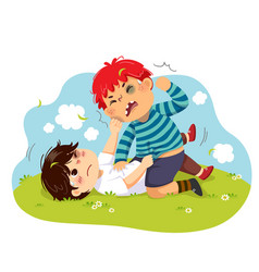 Two boys fighting on green grass vector