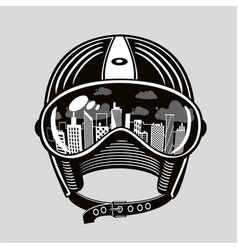 Vintage moto helmet with reflection in glasses vector