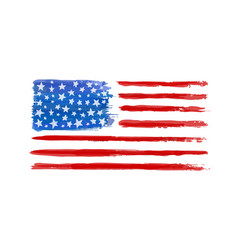watercolor american flag isolated on white vector image
