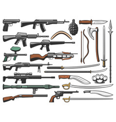weapon military ammunition and shotguns icons vector image