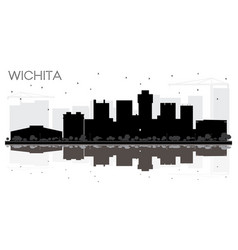 Wichita kansas usa city skyline black and white vector
