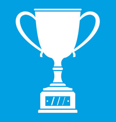 Winner cup icon white vector