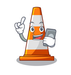 With phone traffic cone on road cartoon shape vector