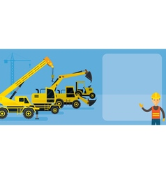 Worker with Construction Vehicles Background vector image