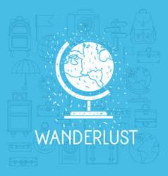 world planet with set travel icons vector image