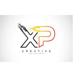 Xp creative modern logo design with orange and vector