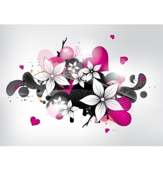 Abstract background with flowers and heart vector image