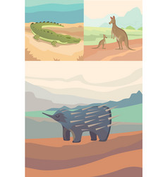 australian animals crocodile kangaroo and vector image