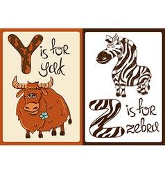 Children Alphabet with Funny Animals Yak and Zebra vector image vector image