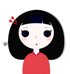 Cute beautiful little japanese cartoon girl vector