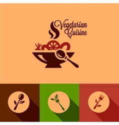 flat vegetarian cuisine icons set vector image vector image