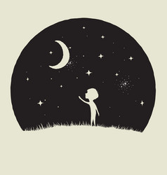 little kid boy looks to crescent moon vector image vector image