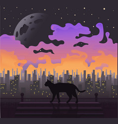 black cat at full moon purple background vector image vector image