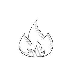Fire sketch icon vector image vector image