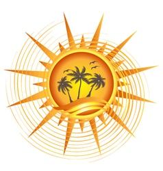 Gold tropical sun logo vector image
