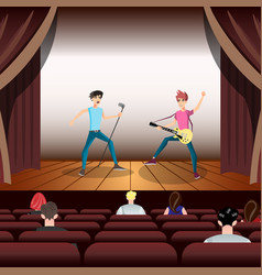 rock band concert guitar and musician on stage vector image