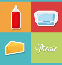 set of picnic summer icon vector image vector image