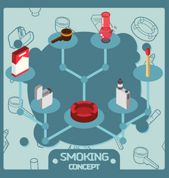 smoking color isometric concept icons vector image vector image