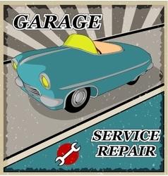 Vintage blue retro car vector image