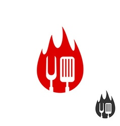 BBQ icon logo Grill fork and spatula on a fire vector image