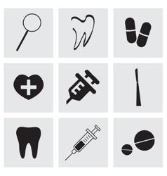black dental icons set vector image