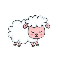 cute smilng funny sleeping sweet sheep vector image