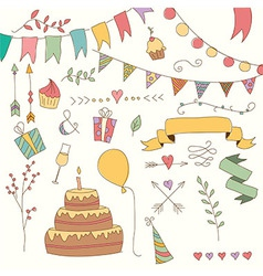 Hand drawn vintage birthday design elements vector image vector image