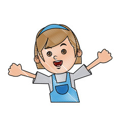 happy girl cartoon character fun vector image