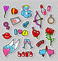 love and romance doodle with hearts lips vector image