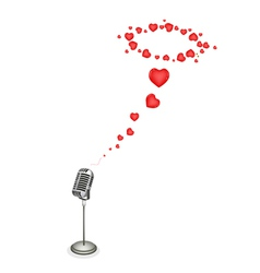 Lovely Hearts with Retro Microphone vector image vector image