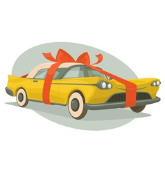 Retro car is a present vector image vector image