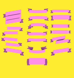 ribbons text art in many style with yellow vector image