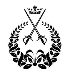 Royal laurel wreath with swords vector