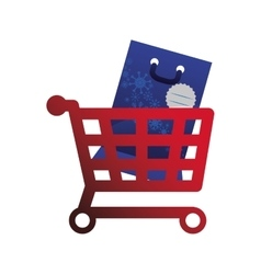 Shopping cart and bag of Merry Christmas design vector image