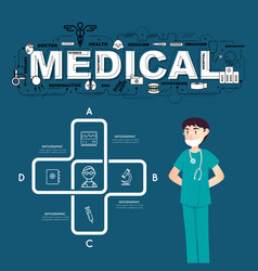 a doctor with medical icons of infographic design vector image vector image