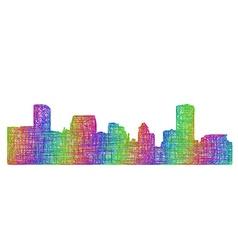 Baltimore skyline silhouette - multicolor line art vector image